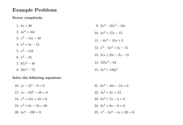 Algebra Worksheets Quadratic Equations 2