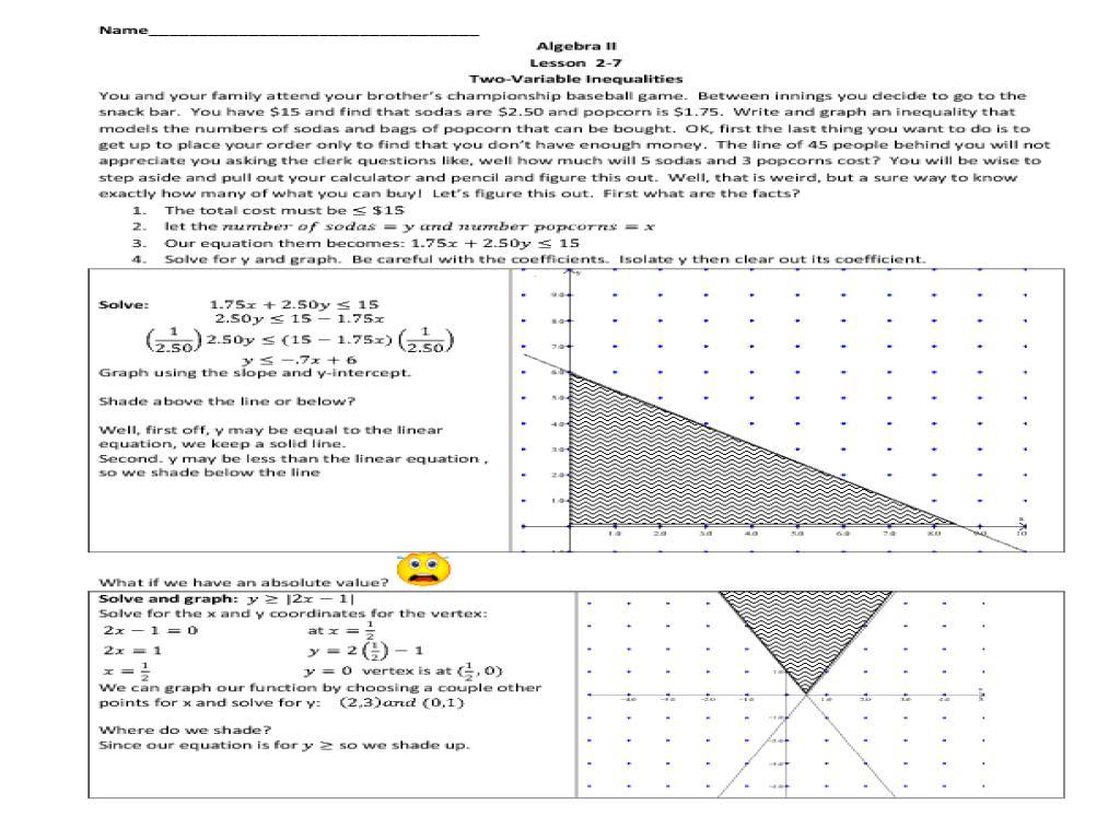Algebra Worksheets Two Variables 5