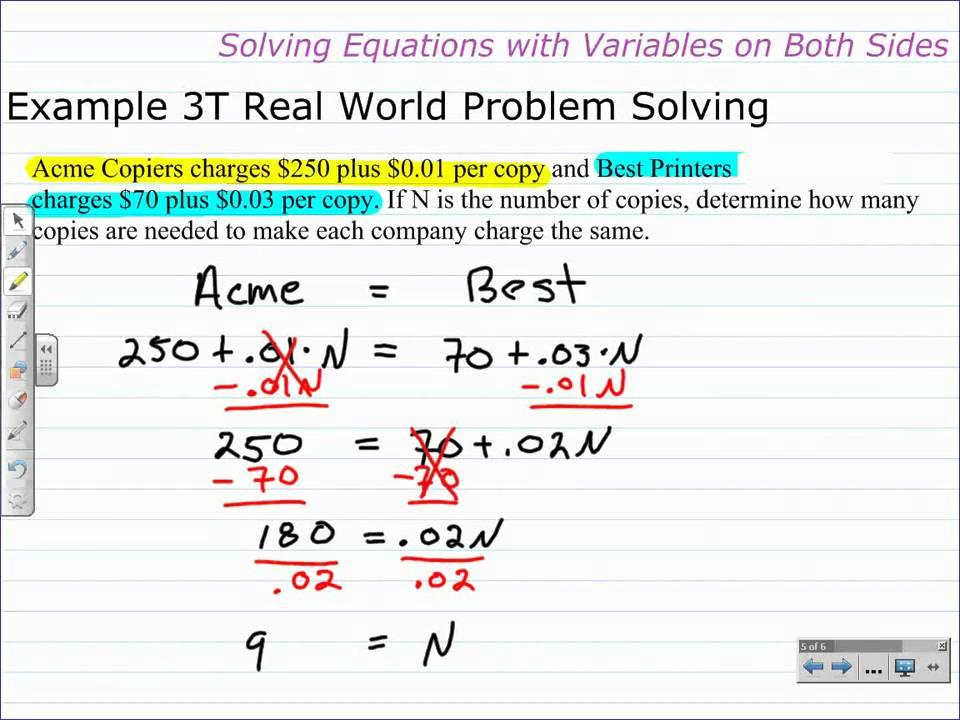 Algebra Worksheets With Variables On Both Sides 1