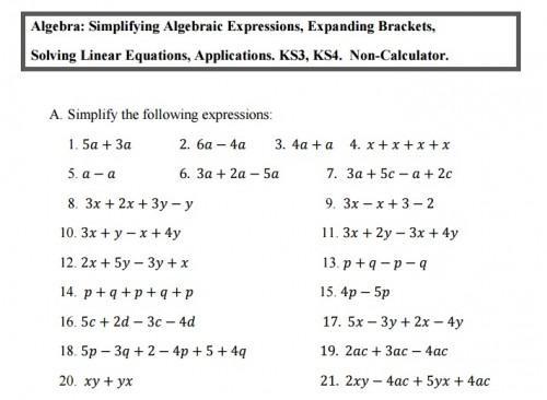 Basic Algebra Worksheets For Beginners