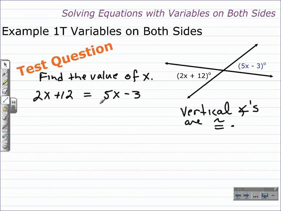 Math Worksheets Solving Equations With Variables On Both Sides