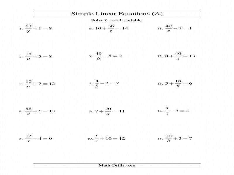 Solving Two Step Equations Worksheet Math Aids