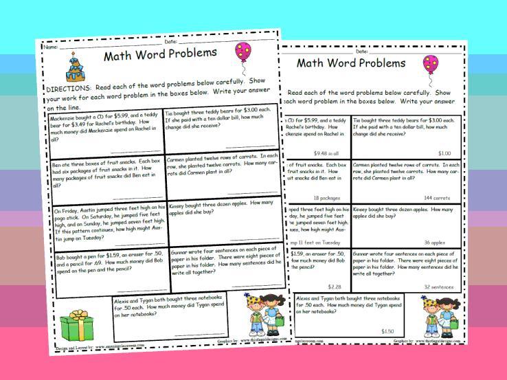Algebra Word Problems Age Worksheet