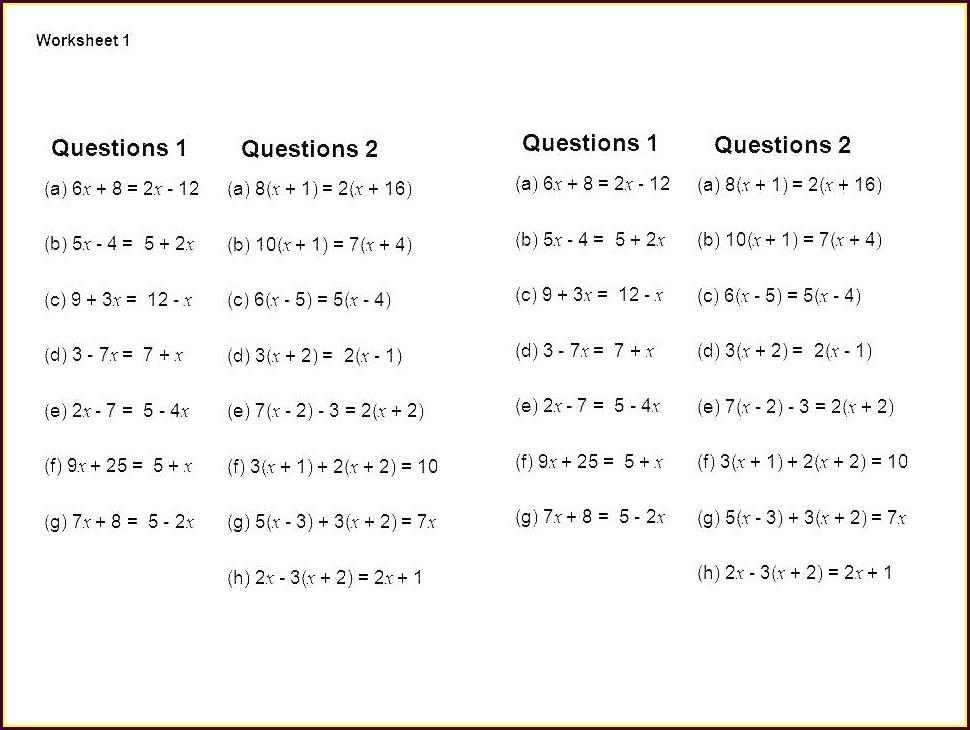 Algebra Word Problems Worksheet Answers