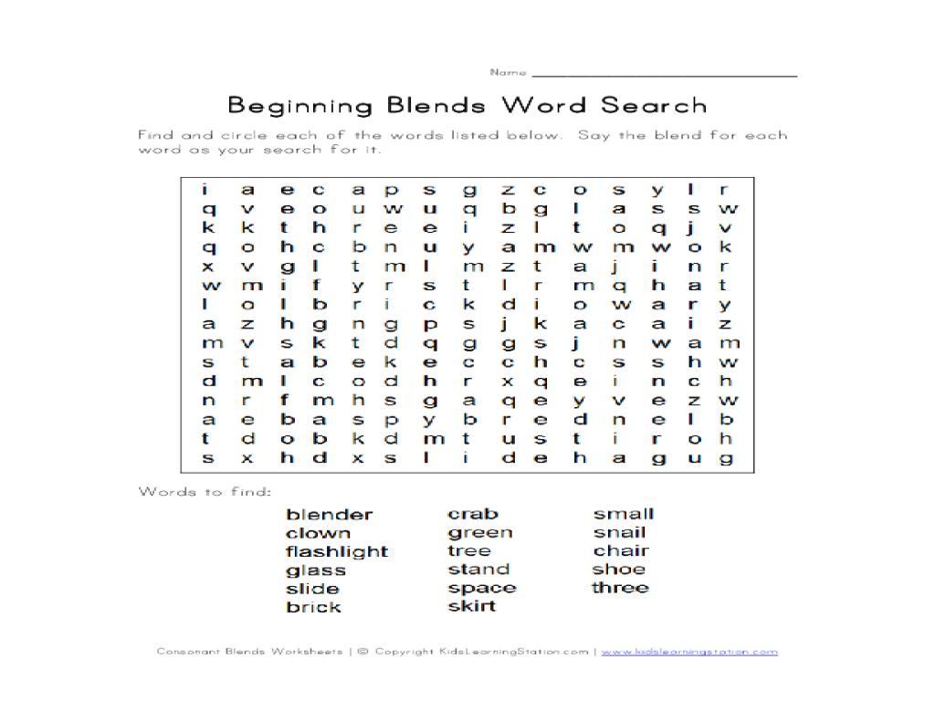 1st Grade Free Blends Worksheets