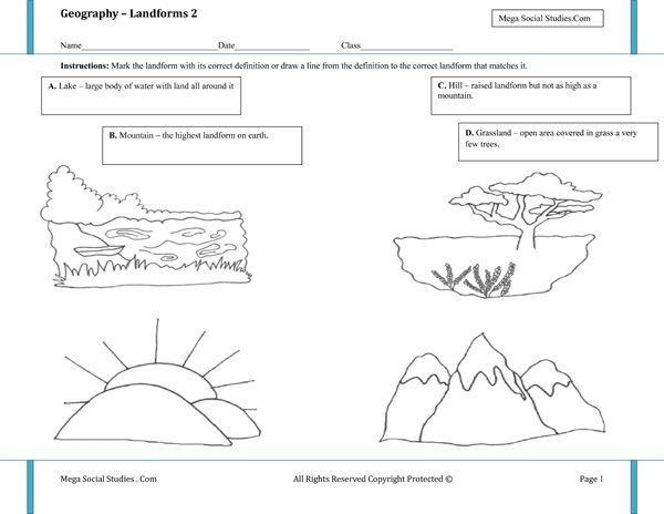 1st Grade Landforms Worksheets 2