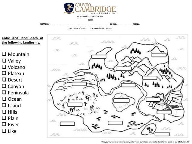 Landforms Worksheets For 1st Grade