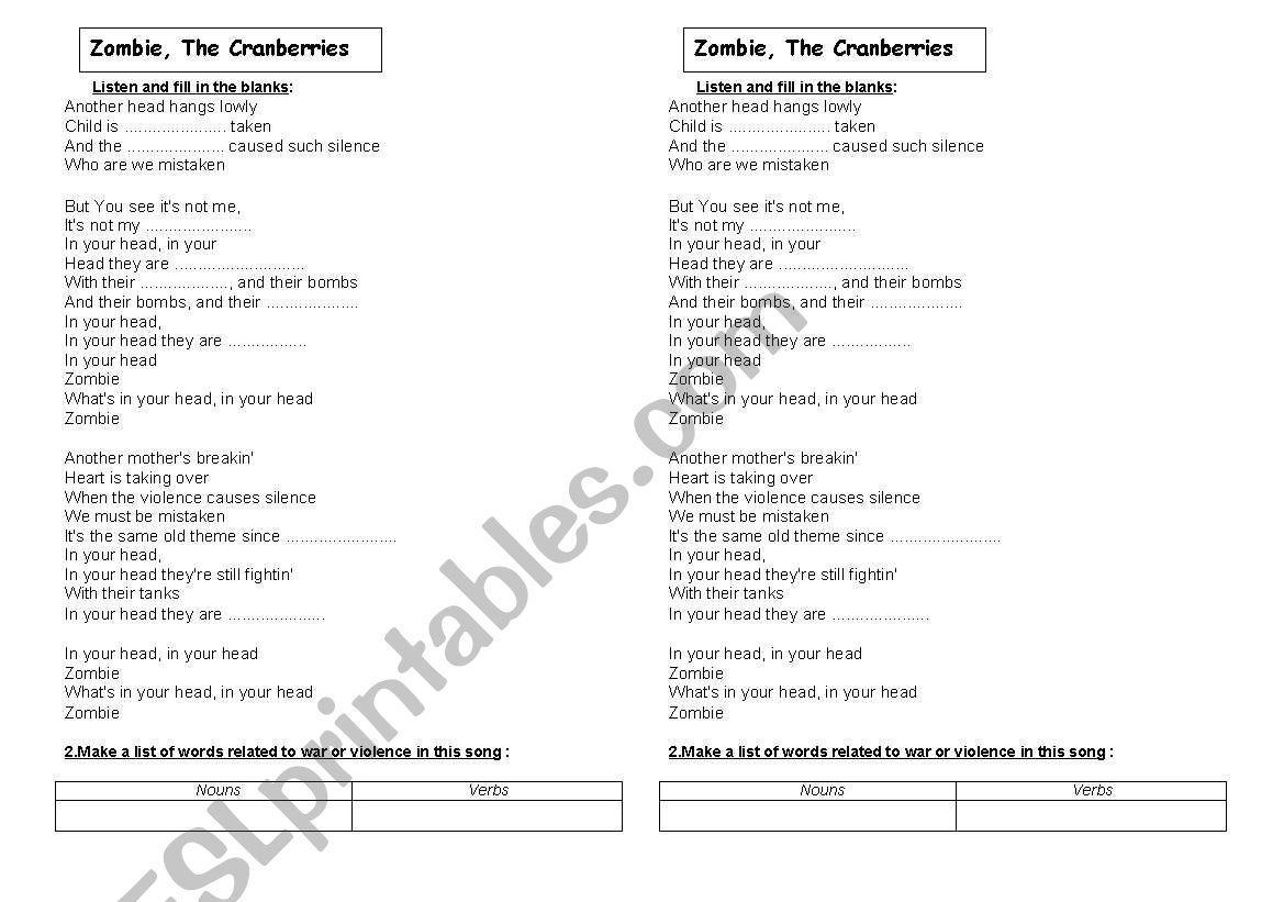 Zombie English Worksheets 7