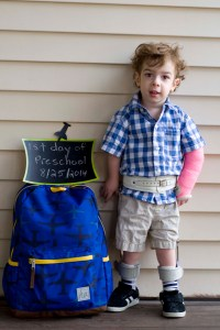 Posing by our new backpack for our first day of preschool.  Looking sharp!