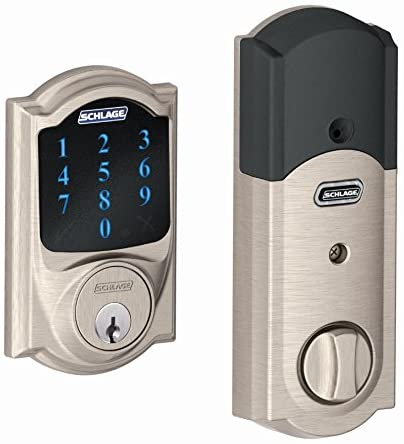Schlage Z-Wave Connect Camelot Touchscreen Deadbolt with Built-In Alarm, Satin Nickel, BE469 CAM 619, Works with Alexa via SmartThings, Wink or Iri