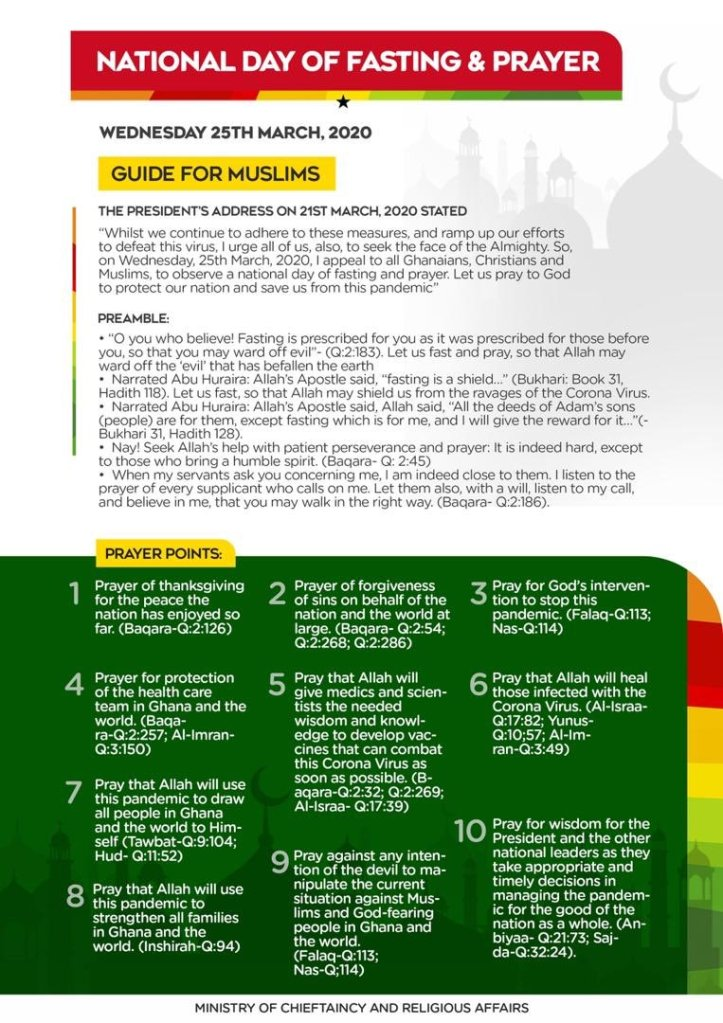 Guidelines for tomorrow's Fasting and Prayers out (Details)