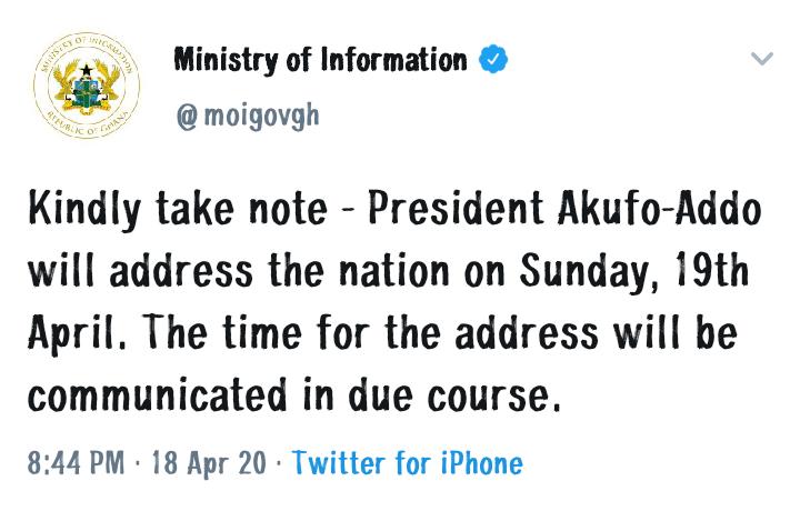 TAKE NOTE: Prez Akufo-Addo to address nation today