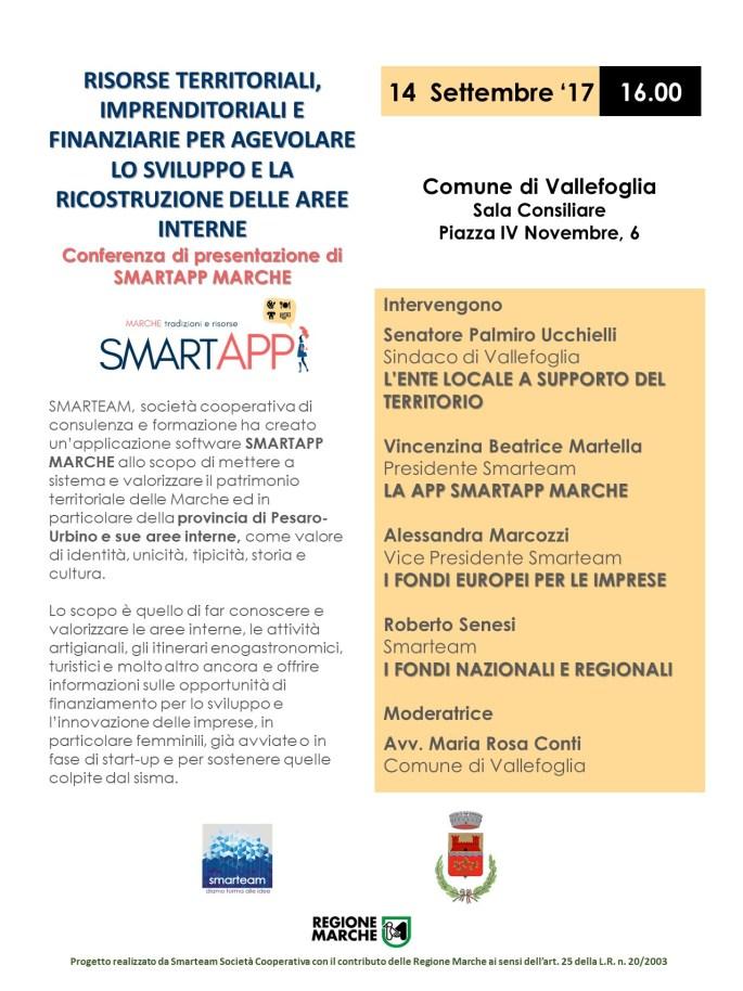 VALLEFOGLIA Locandina conferenza SMARTAPP MARCHE
