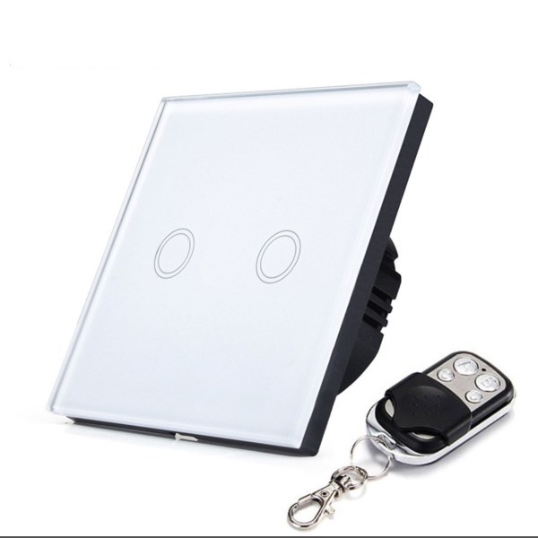 бял сензорен ключ с дистанционно двоен