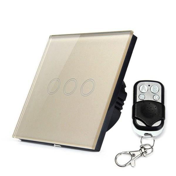сензорен ключ три бутона с дистанционно златист цвят