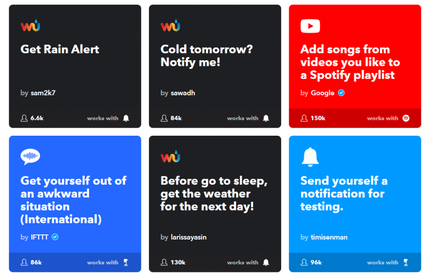 ifttt dashboard и аплети