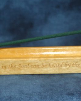 """Incense Holder Engraved with """"Music In The Soul Can Be Heard By The Universe By Lao Tzu"""