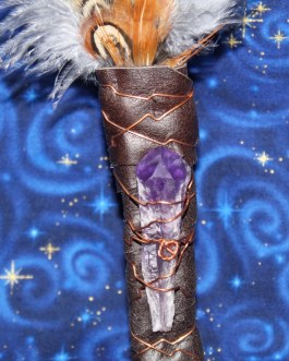 Smudging Feather Fan, Gray Turkey Feathers, Amethyst Crystal Point, #G4