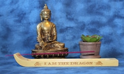 """Incense Holder Engraved with """"I Am The Dragon"""""""