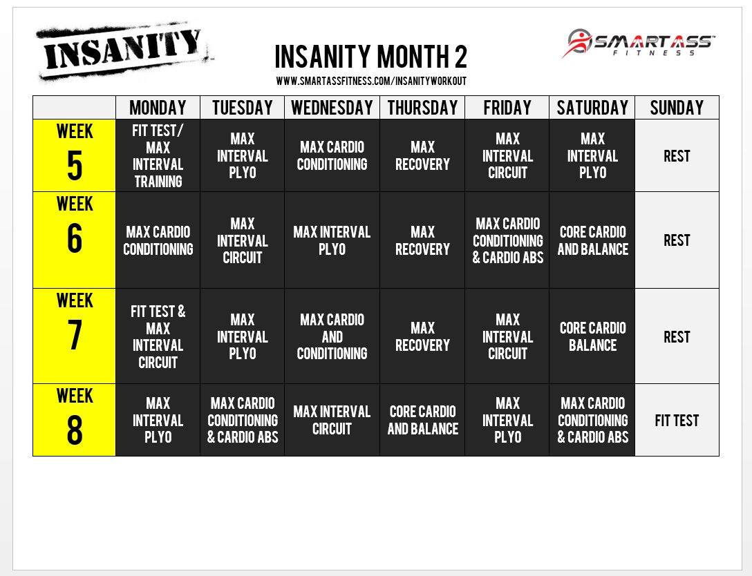 insanity workout schedule month 2