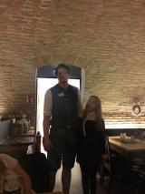 5ft Robyn v. our waiter!