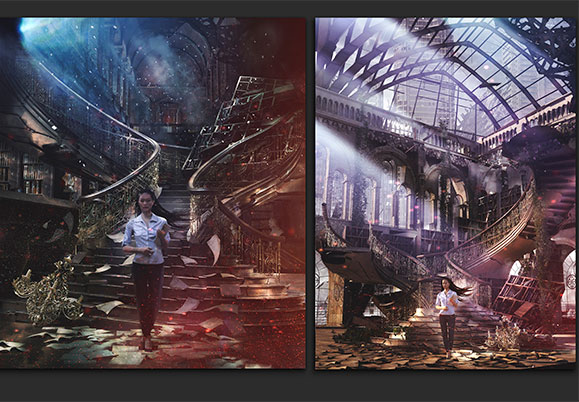 Initial composite image sketches for the cover - a woman with long hair blowing in the wind holding a stack of books in a ruined library one at the bottom of a staircase and one inside the ruins of a glass topped building