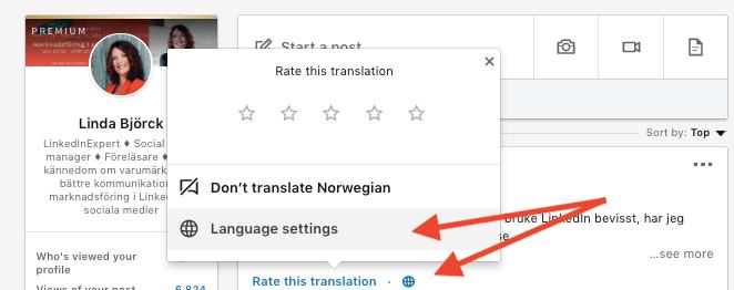 automatisk översättning inlägg LinkedIn