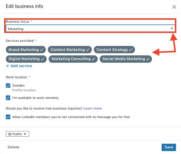 erbjuder tjänster providing services LinkedIn