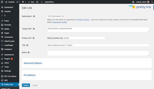 WordPress - Edit Target URL in Dashboard