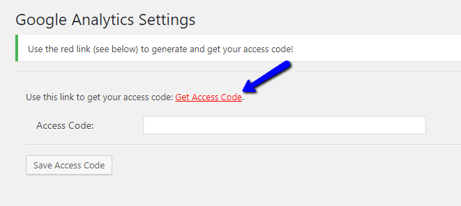 Get Access Code for Google Analytics