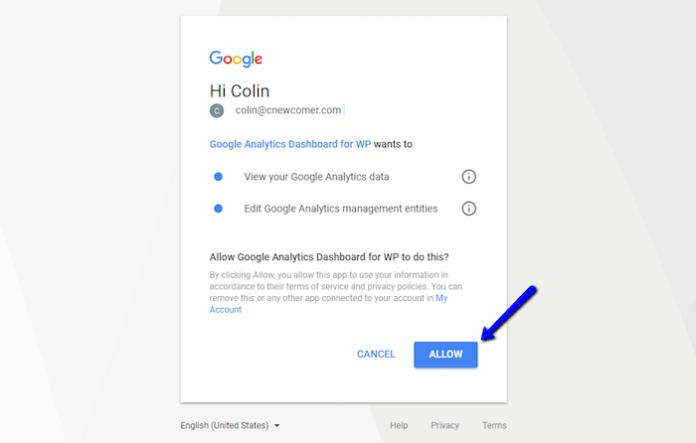 Allow Google Analytics Plugin Access