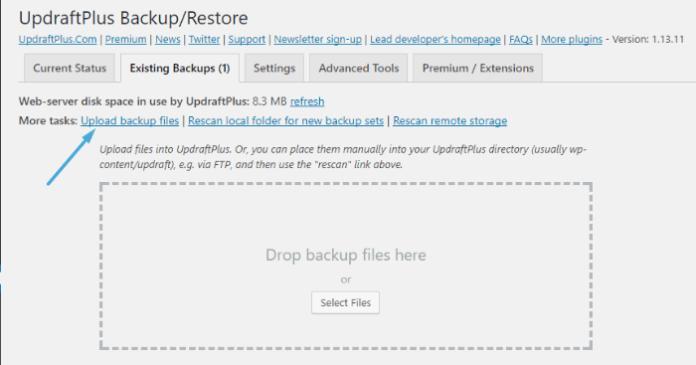 UpdraftPlus - upload backup files