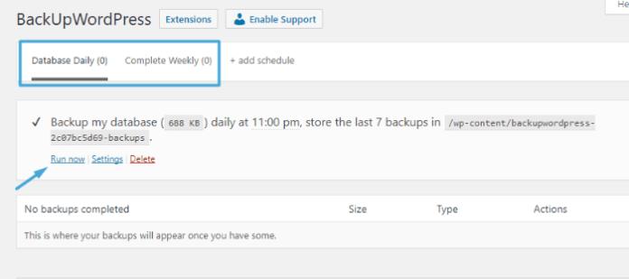 BackUpWordPress - manually create database