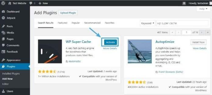 Activate WordPress Wp Super Cache plugin