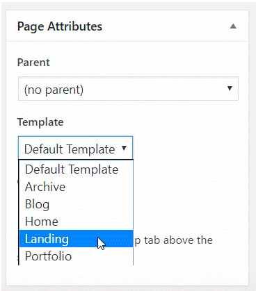 Select the landing page template