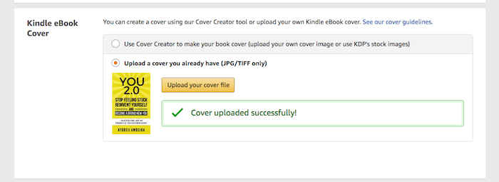Upload Kindle eBook cover files