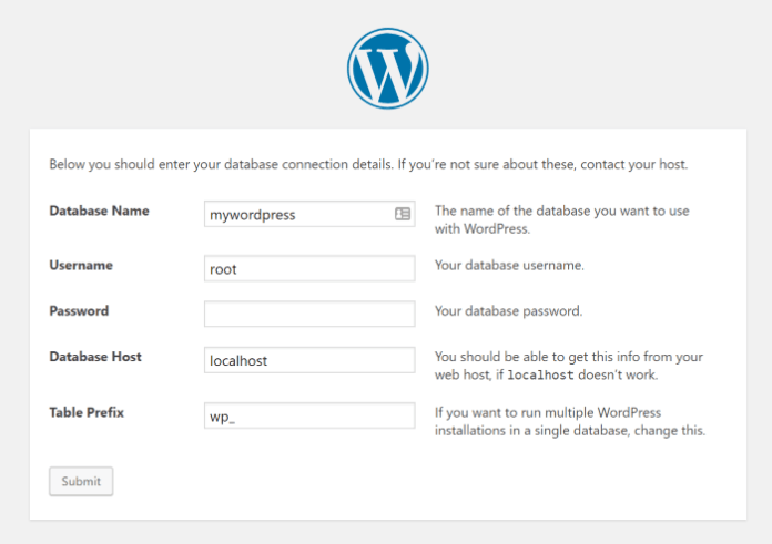 WordPress database connection details