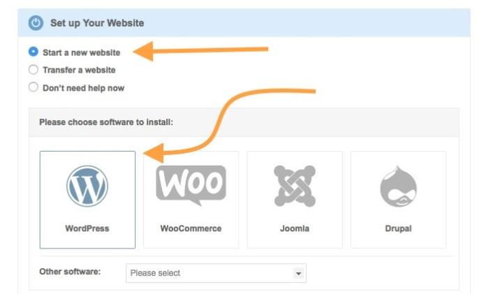Start a Siteground website