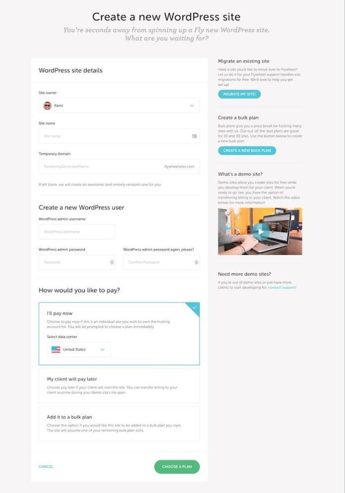 Enter WP site details at Flywheel