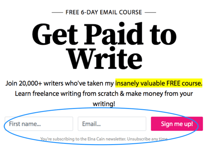 email marketing optin form example annotate