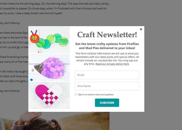esempio pop-up di email marketing