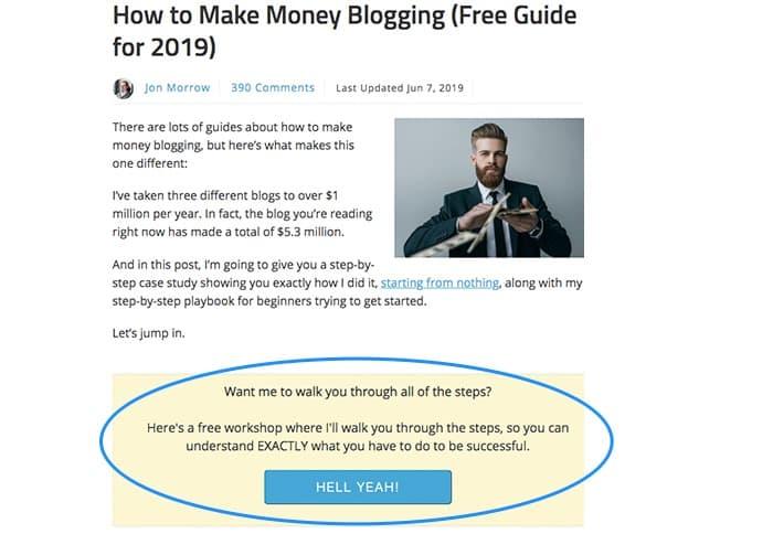 email marketing all'interno di un post annotato