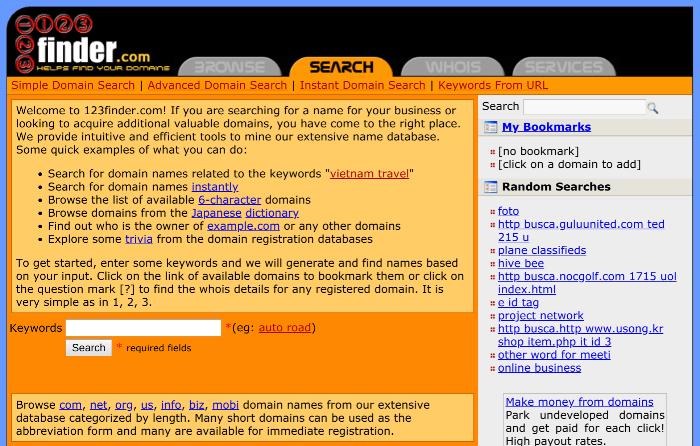 generatore di nomi di blog 123finder