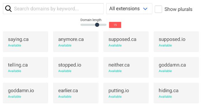 domini del dizionario del generatore di nomi di blog