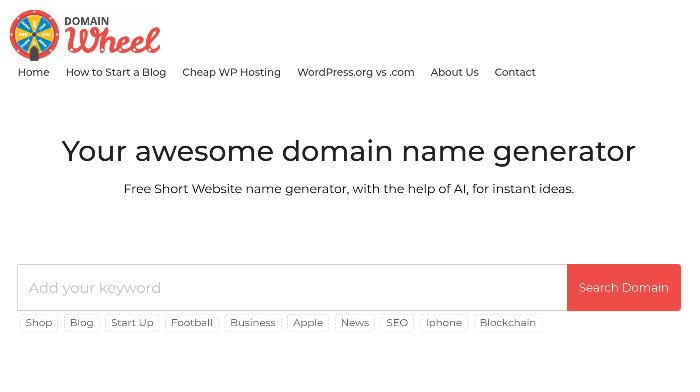 domainwheel del generatore di nomi di blog