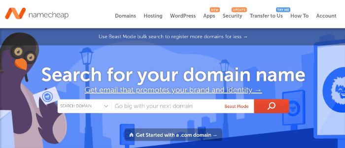 homepage di namecheap