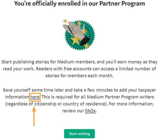 medium partner program enrollment confirm