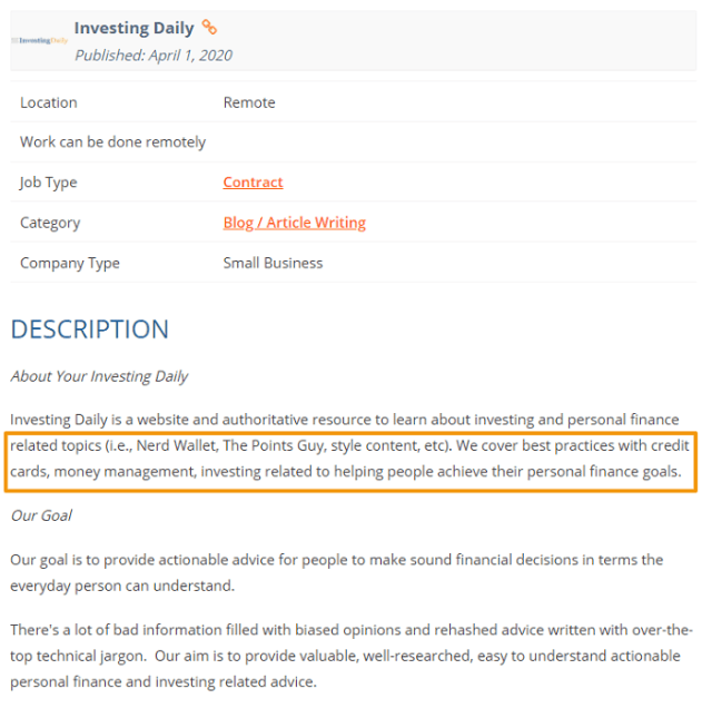writing sample job ad screenshot finance blog
