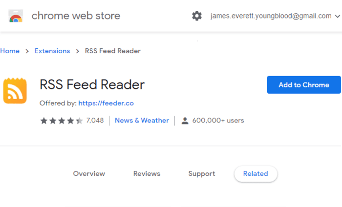 what is rss feeder chrome extension