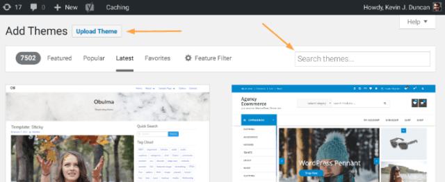 Start a blog - WordPress Theme options
